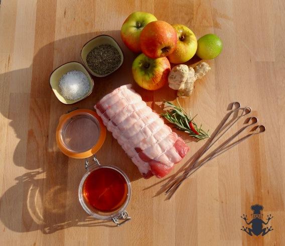 Ingredients for pork skewers - easyfrenchcooking.com