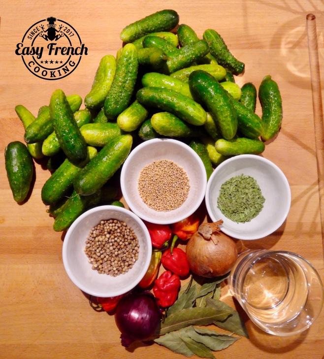 Gherkins in vinegar ingredients - easyfrenchcooking.com