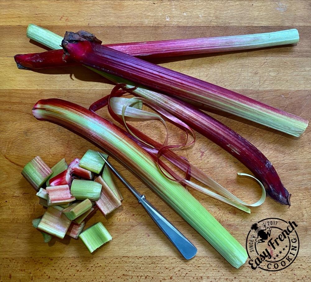 Peeling the rhubarb - easyfrenchcooking.com